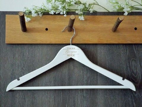 Personalised White Wooden Wedding Dress Hanger Bride Bridesmaid Gift (D2)